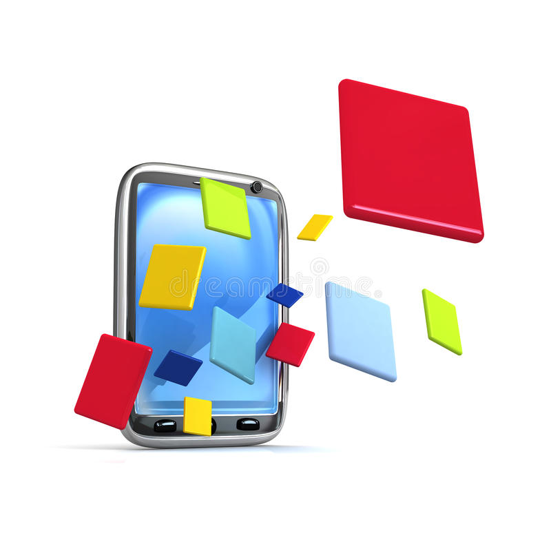 Download Application Are Flying From Phone Stock Illustration - Image: 20382673