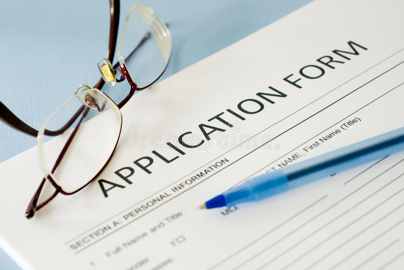 Application form stock images