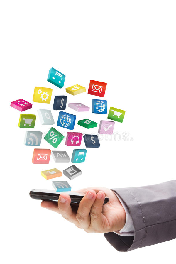 Application icons with mobile phone stock illustration