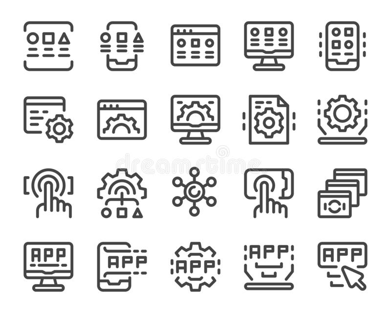 Application line icon set royalty free stock photography