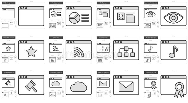 Application line icon set. Application vector line icon set isolated on white background. Application line icon set for infographic, website or app. Scalable royalty free illustration