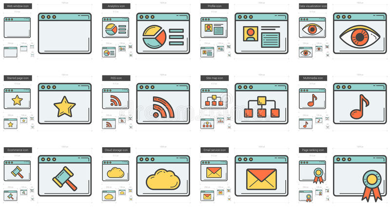 Application line icon set. Application vector line icon set isolated on white background. Application line icon set for infographic, website or app. Scalable vector illustration