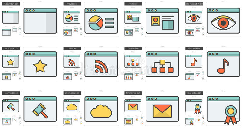 Application line icon set. Application vector line icon set isolated on white background. Application line icon set for infographic, website or app. Scalable stock illustration