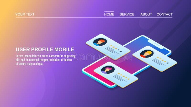 Application mobile de profil d'utilisateur - développement d'interface utilisateurs, concept de construction isométrique illustration stock
