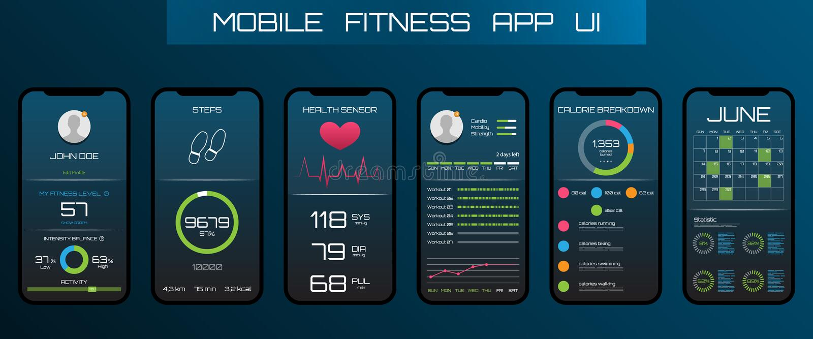 Application on the Mobile Phone to Track Steps, Pedometer. App for Fitness. Concept Interface Design of Apps royalty free illustration