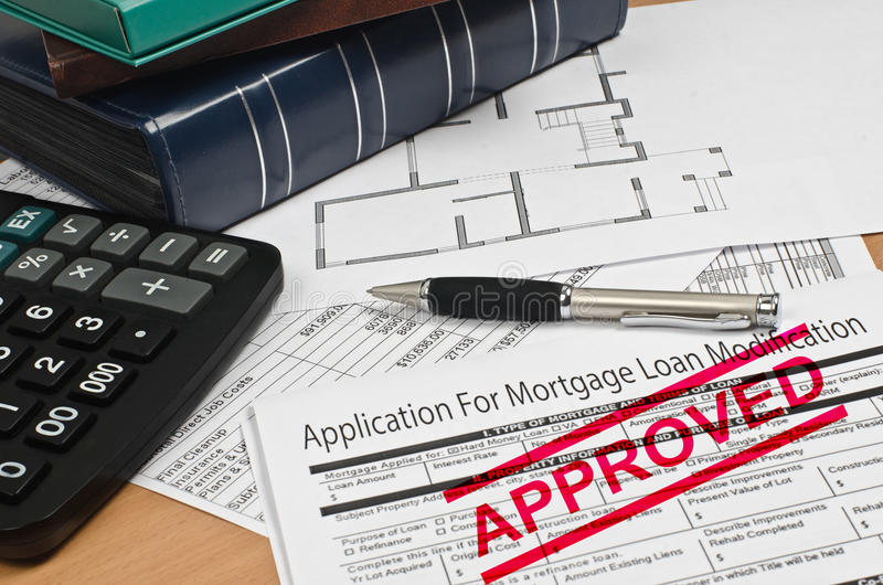 Application for mortgage loan modification stock images