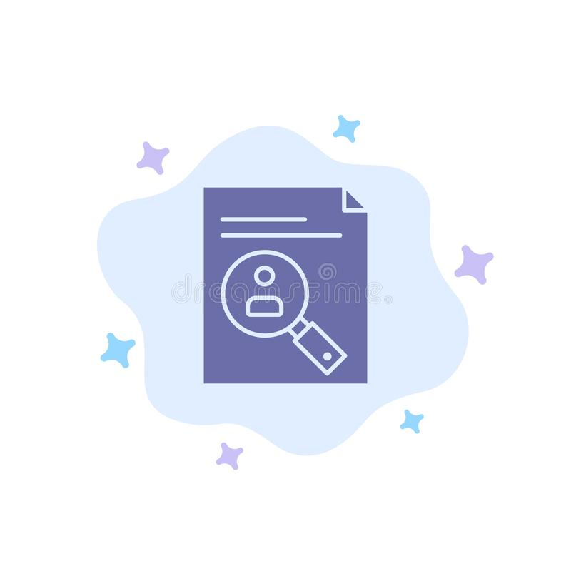 Application, Presse-papiers, Curriculum, Cv, Resume, Icône bleue du personnel sur abstraction Contexte nuageux illustration stock