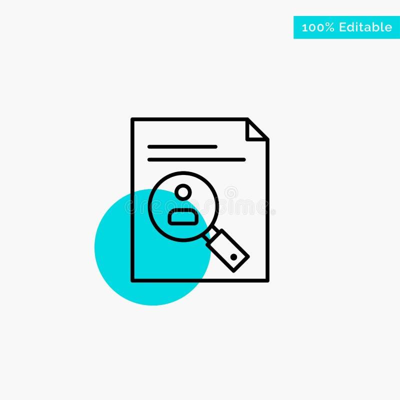 Application, presse-papiers, programme d'études, cv, résumé, icône de vecteur de point de cercle de point culminant de turquoise  illustration de vecteur