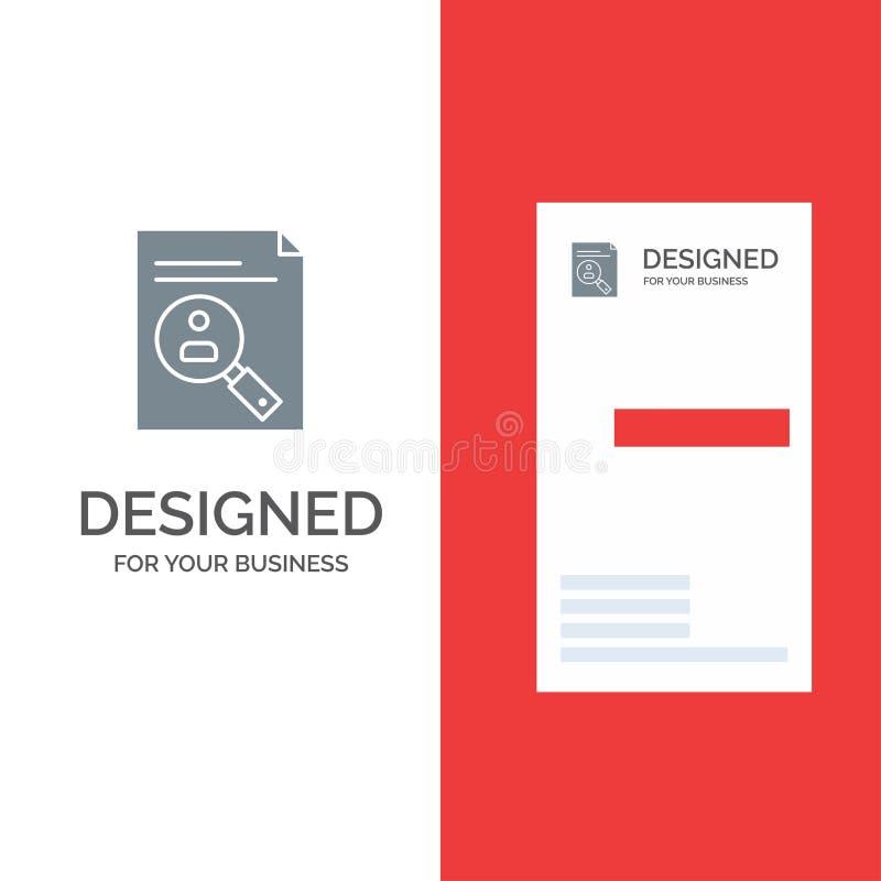 Application, presse-papiers, programme d'études, cv, résumé, personnel Grey Logo Design et calibre de carte de visite professionn illustration stock