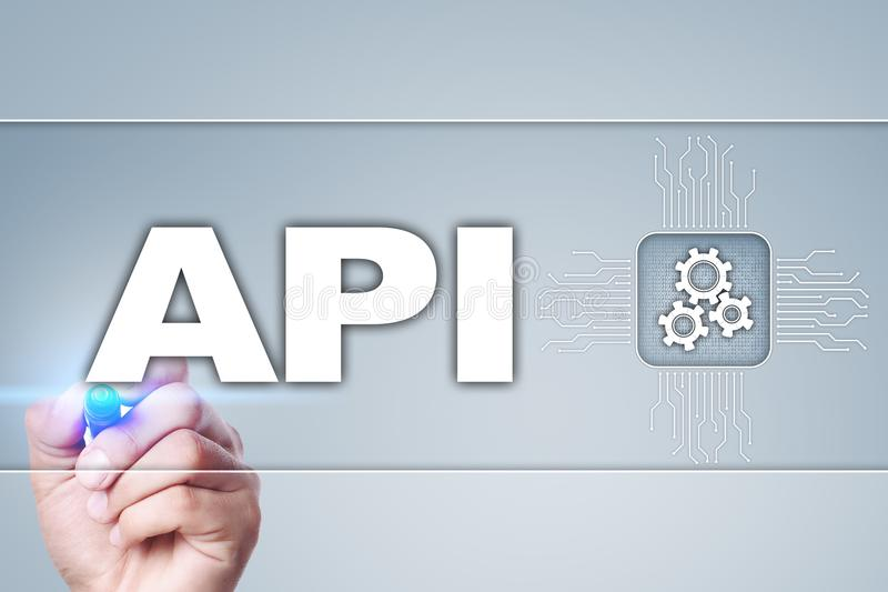 Application programming interface. API. Software development concept. stock images