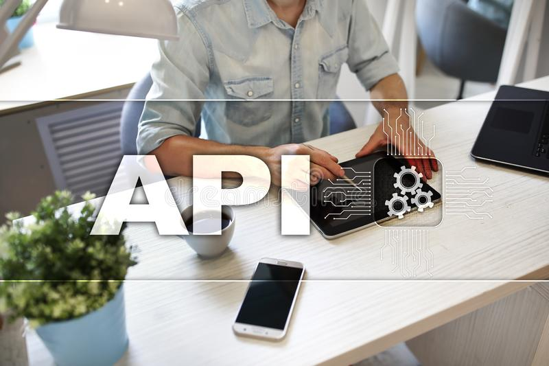 Application programming interface. API. Software development concept. royalty free stock photos
