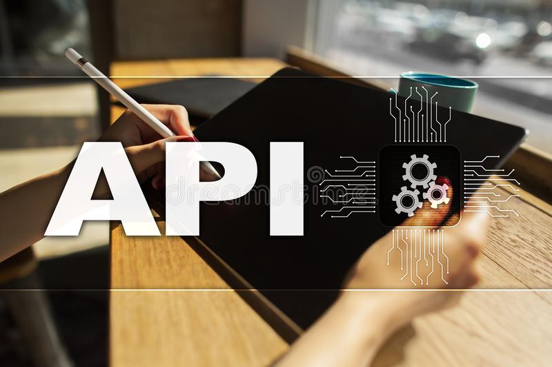 Application programming interface. API. Software development concept. royalty free stock images