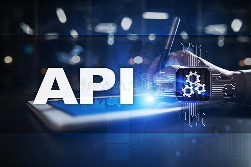 Application programming interface. API. Software development concept. stock image
