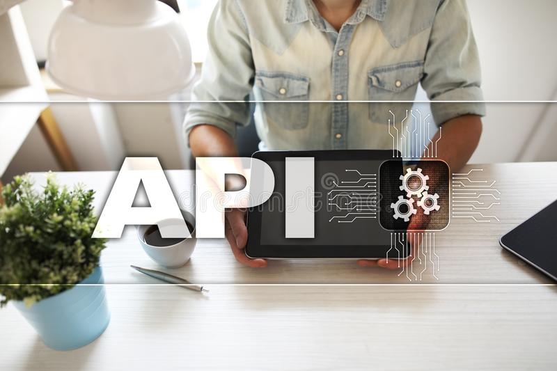 Application programming interface. API. Software development concept. stock photo