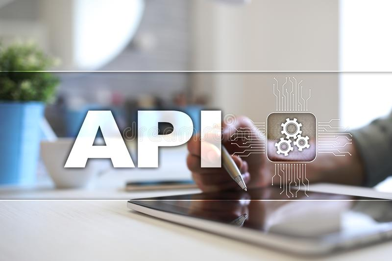Application programming interface. API. Software development concept. royalty free stock photo