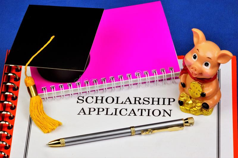 Application for the scholarship. Scholarship-salary, salary, financial assistance to pay tuition or monthly allowance to students. Of secondary and higher stock photos
