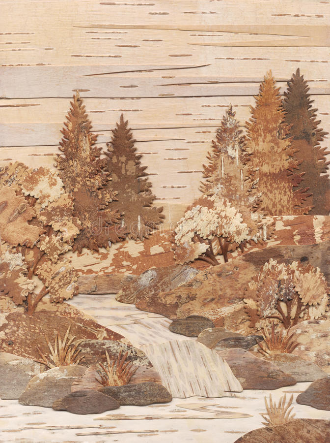 Download Application From Slices Of A Birch Bark: Falls Stock Illustration - Image: 14210889