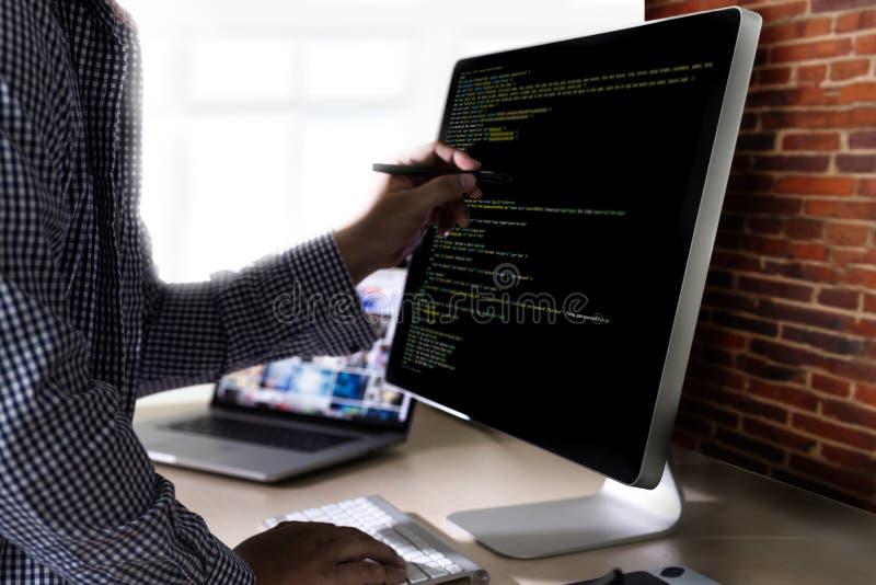 Application Softwa de Team Working Laptop Computer Mobile de promoteur photographie stock