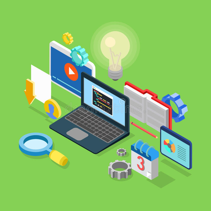 Application software coding development code 3d isometric vector royalty free illustration