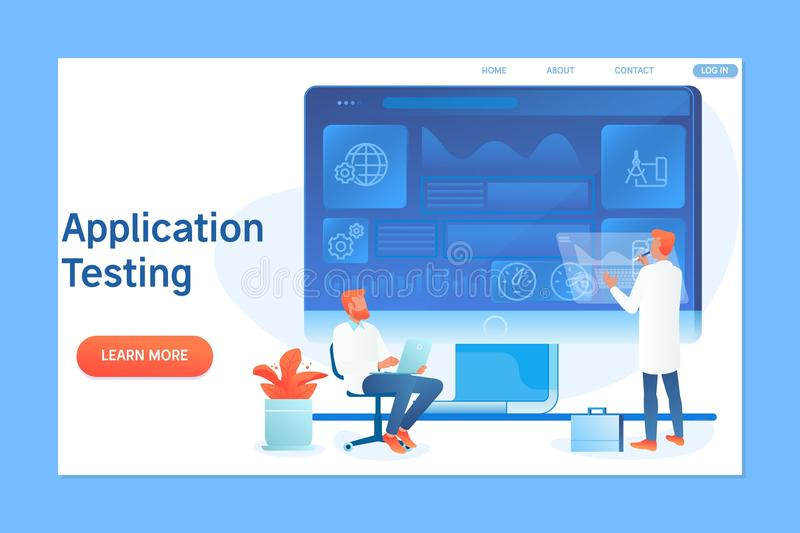 Application programming and testing with characters.Flat vector illustration royalty free illustration