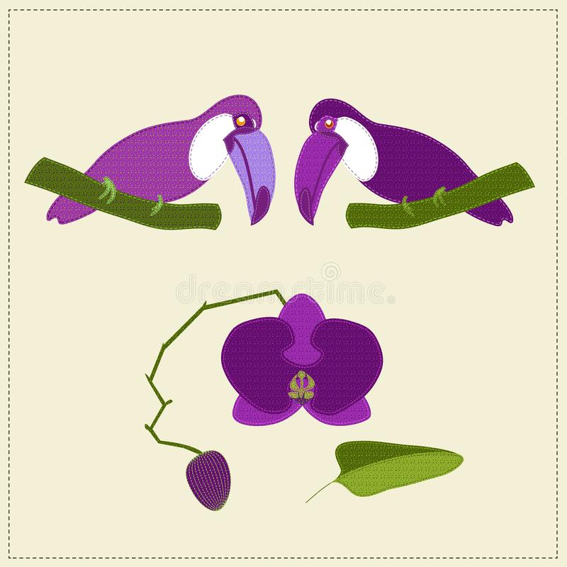 Application of two stitched pink toucans looking down at stitched orchid with a bud. stock illustration