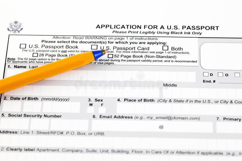 Application for a U.S. passport royalty free stock photo