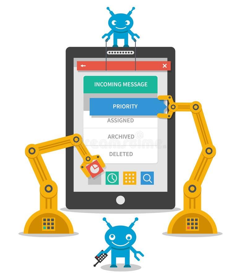 Application user interface development concept. Flat mobile construction software. Vector illustration royalty free illustration