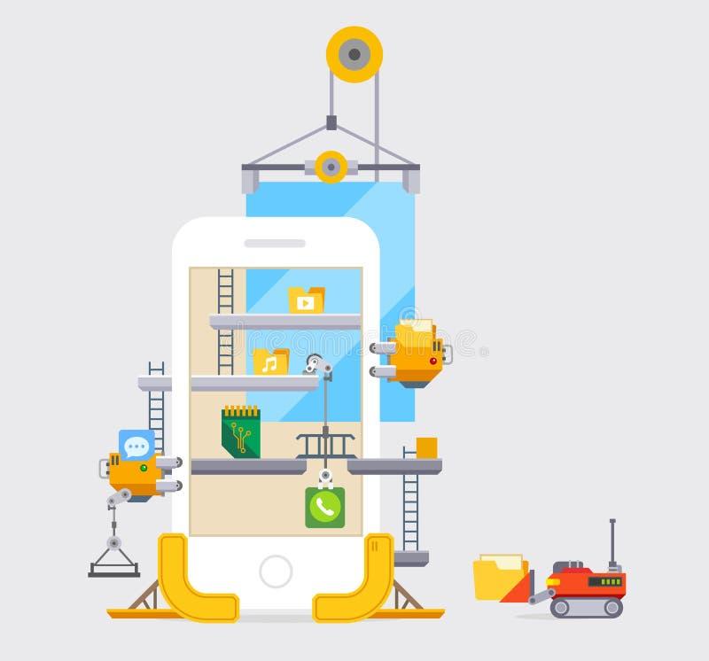 Application User Interface Modile Development. Construction vector illustration in flat style stock illustration