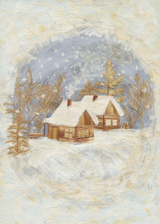 Application : village de l'hiver illustration libre de droits
