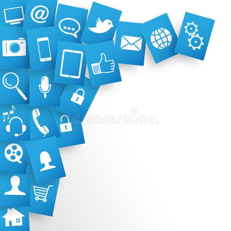 Applications de conception Web Contexte dans les documents bleus illustration libre de droits