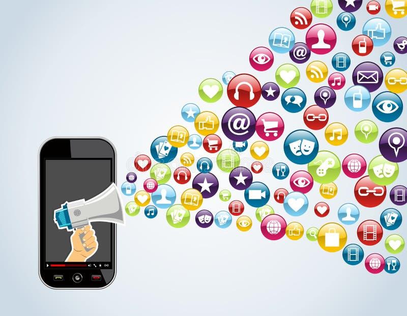 Applications de mobile de Smartphone illustration de vecteur