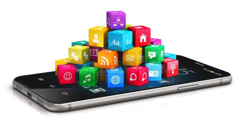Applications et concept mobiles d'Internet illustration de vecteur