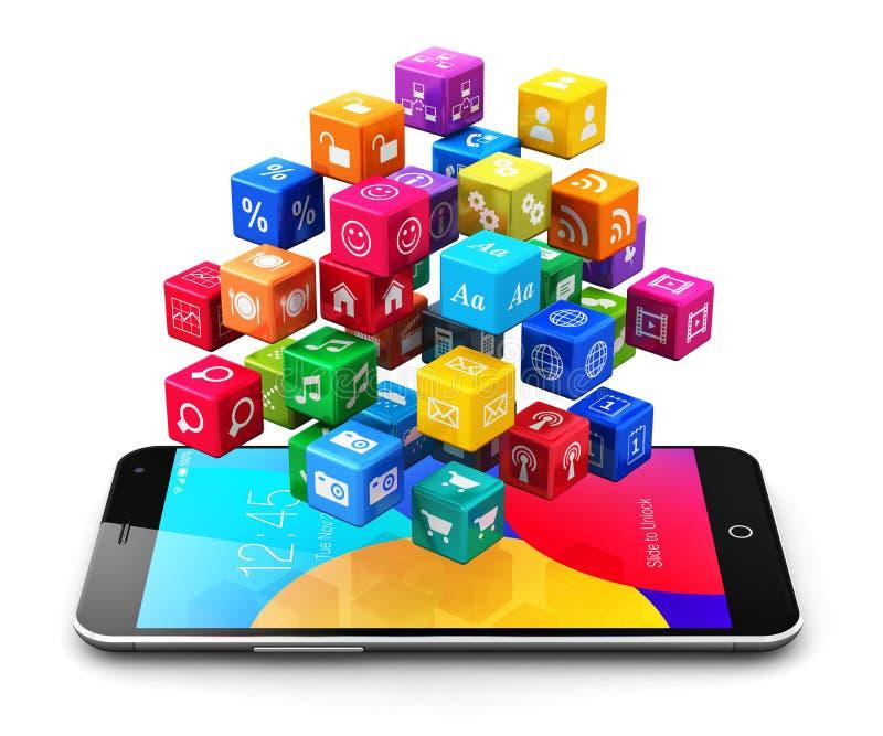Applications et concept mobiles d'Internet illustration libre de droits