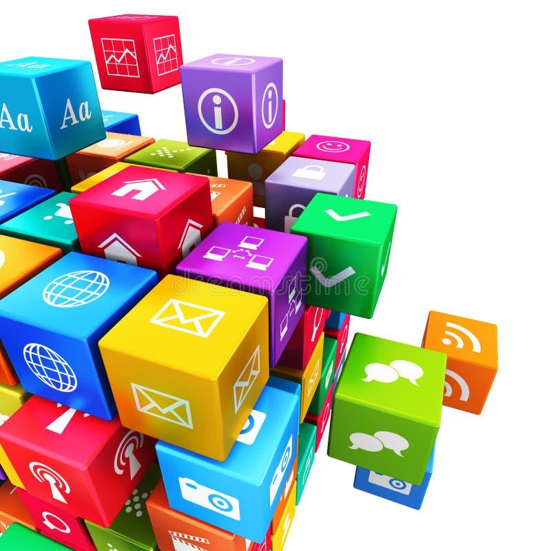 Applications et concept mobiles de technologie de media illustration stock