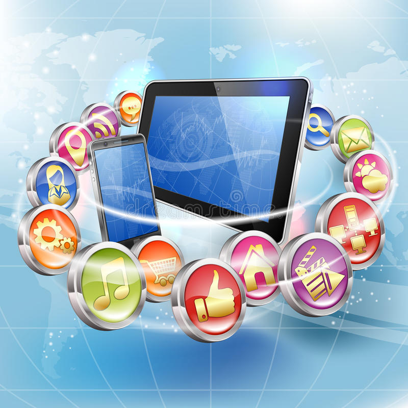 Applications for Mobile Platforms. Business Concepts with Smartphone, Tablet PC and Application Icons on Abstract Background vector illustration