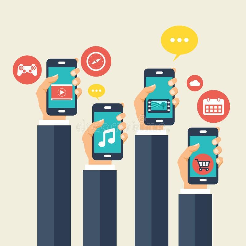 Applications mobiles et concept mobile de développement Illustration plate de vecteur illustration libre de droits