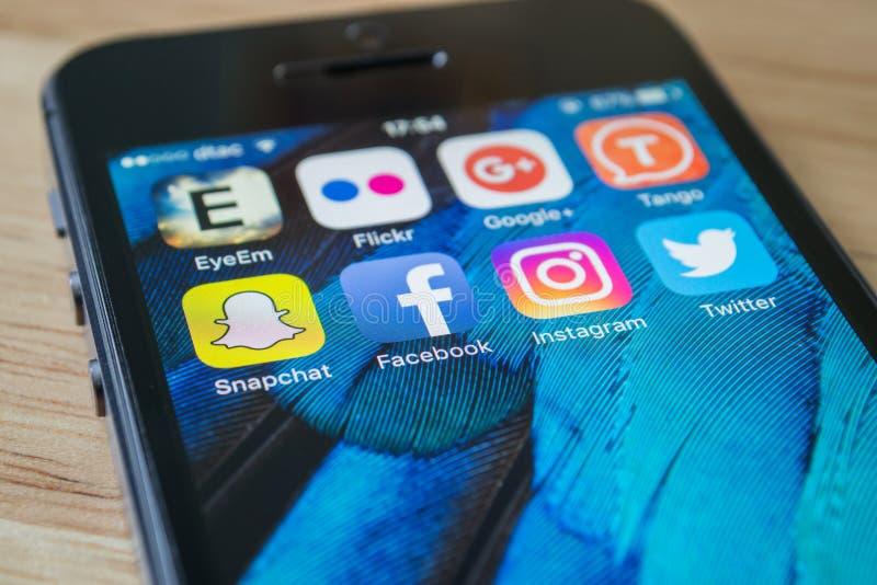 Applications sociales de réseau photo libre de droits