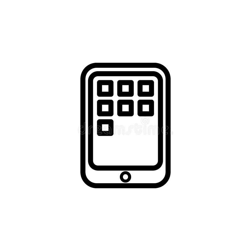 applications sur l'icône de comprimé Élément d'icône simple pour des sites Web, web design, APP mobile, graphiques d'infos Ligne  illustration stock