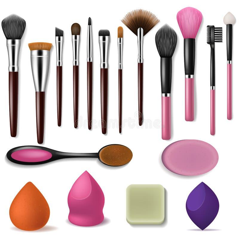 Applicator ομορφιάς βουρτσών Makeup το διανυσματικό επαγγελματικό εξάρτημα και βουρτσισμένα τα μόδα εργαλεία για τη σκόνη κοκκινί διανυσματική απεικόνιση