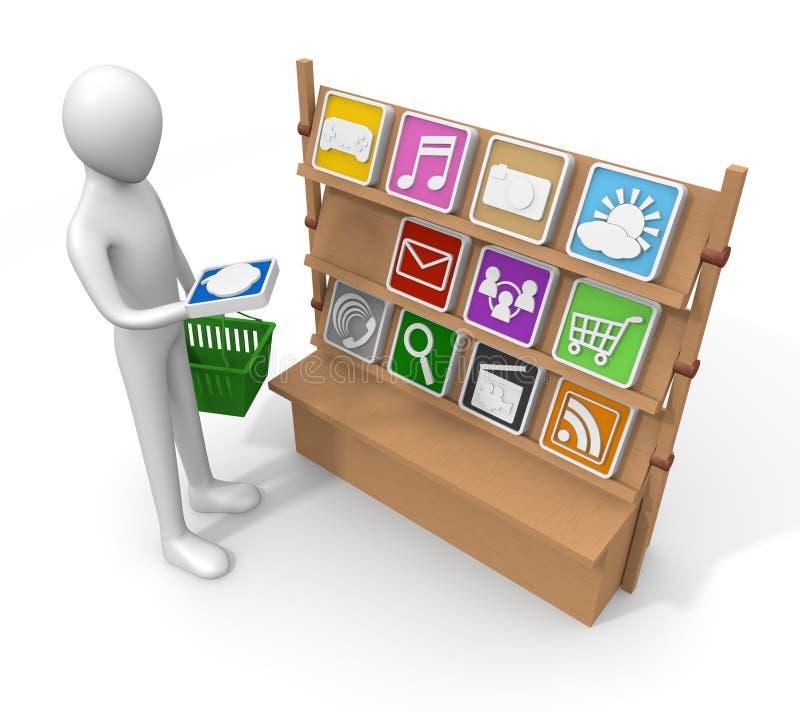 Applicazione/acquisto/vendita illustrazione di stock