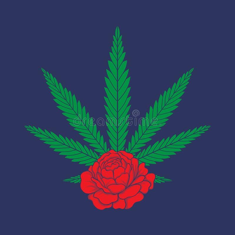 Applicazione con le rose rosse e le foglie della cannabis illustrazione di stock