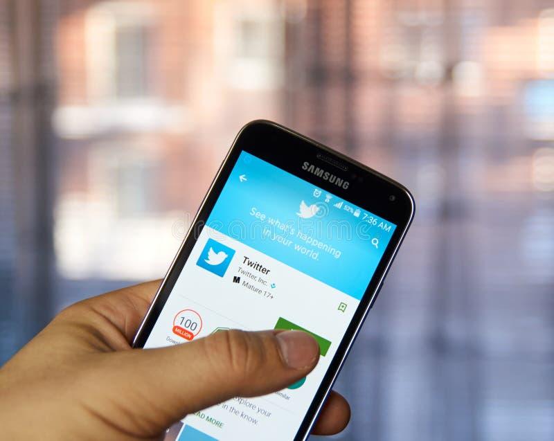 Applicazione del cellulare di Twitter immagini stock libere da diritti