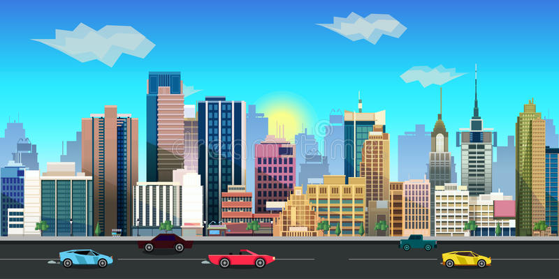 Applicazione del fondo del gioco della città 2d Disegno di vettore illustrazione di stock