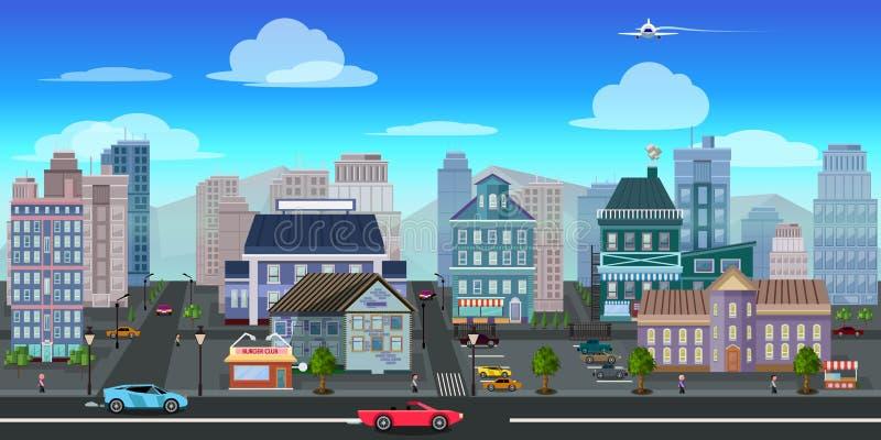 Applicazione del gioco del fondo del gioco della città 2d Disegno di vettore illustrazione di stock