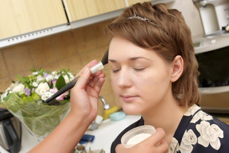 Applicazione della polvere fotografia stock