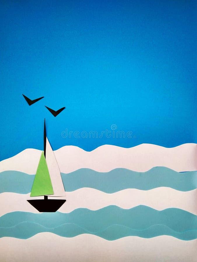 Applicazione di carta di una barca a vela sul mare e sui gabbiani fotografia stock