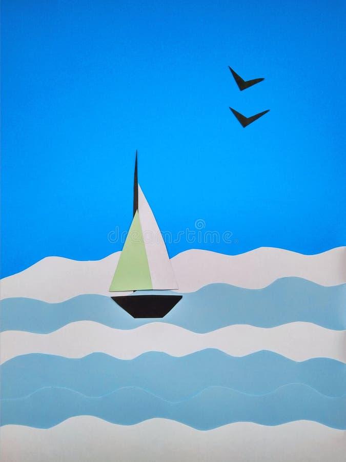 Applicazione di carta di una barca a vela sul mare e sui gabbiani immagini stock