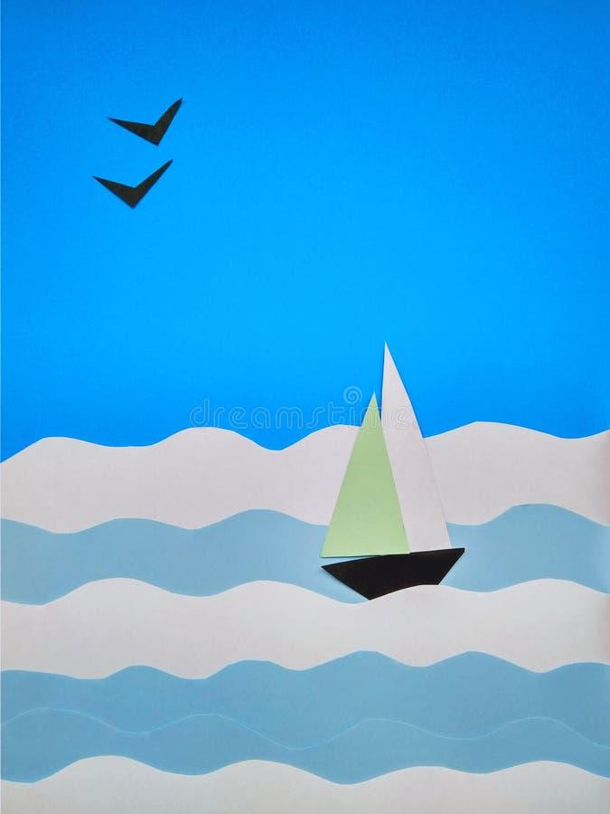 Applicazione di carta di una barca a vela sul mare e sui gabbiani immagine stock libera da diritti
