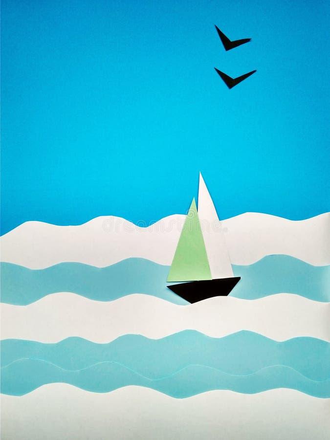 Applicazione di carta di una barca a vela sul mare e sui gabbiani immagine stock
