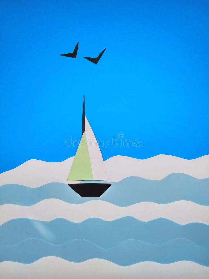 Applicazione di carta di una barca a vela sul mare e sui gabbiani immagini stock libere da diritti